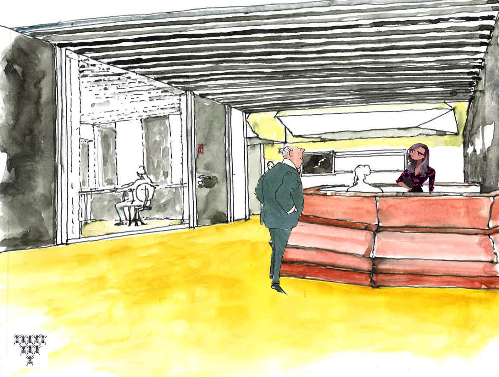 Croquis banque d'accueil showroom cloisons partena à Saint-Denis - conception Philippe Médioni architecte