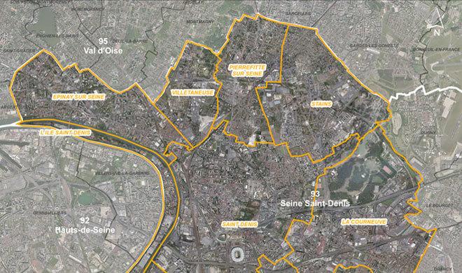 Carte du territoire du département de Seine-Saint-Denis - 93