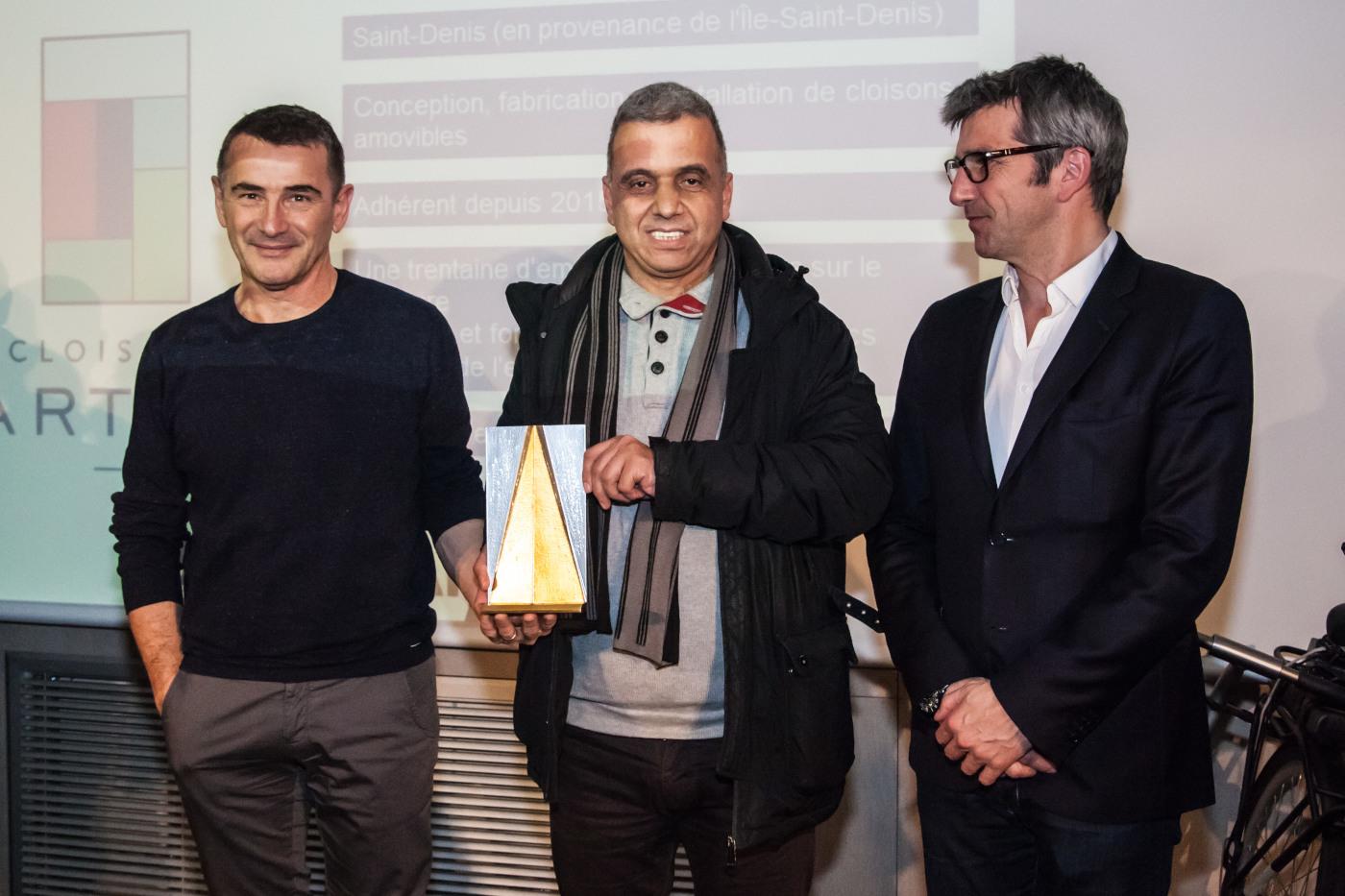 Voeux 2019 de Plaine Commune Promotion dans la salle du conseil - remise des Flèches d'Or de l'implication territoriale à Cloisons Partena